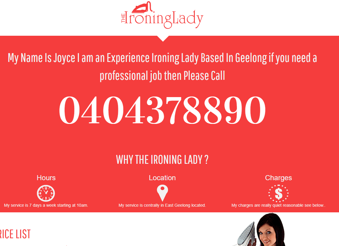 Ironing Lady Website